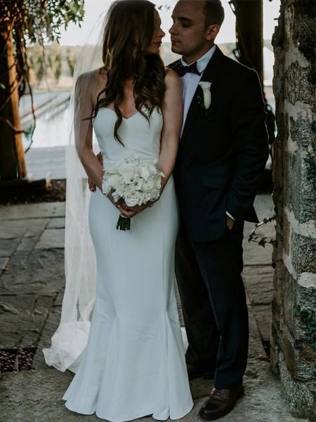 Sheath/Column Sweetheart Ruffles Sleeveless Sweep/Brush Train Satin Wedding Dresses