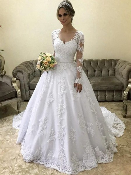 Ball Gown V-neck Applique Long Sleeves Court Train Satin Wedding Dresses