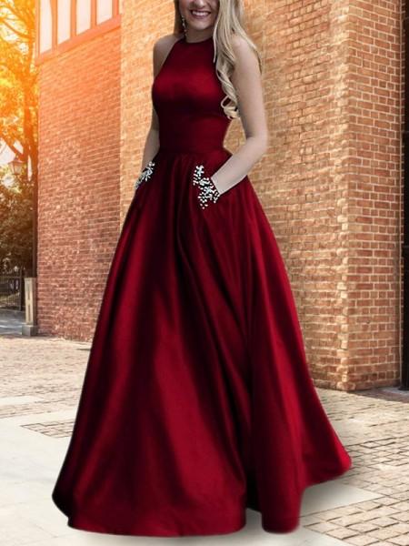 A-Line/Princess Halter Beading Sleeveless Floor-Length Satin Dresses