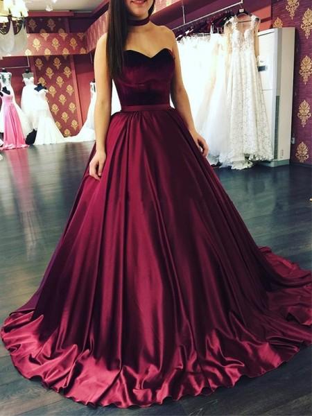 Ball Gown Sweetheart Ruffles Sleeveless Sweep/Brush Train Satin Dresses