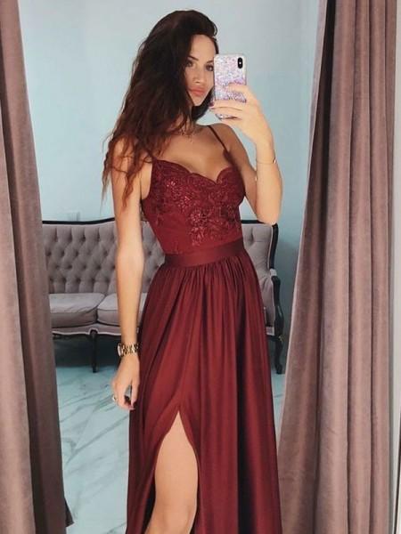 A-Line/Princess V-neck Lace Sleeveless Floor-Length Silk Like Satin Dresses