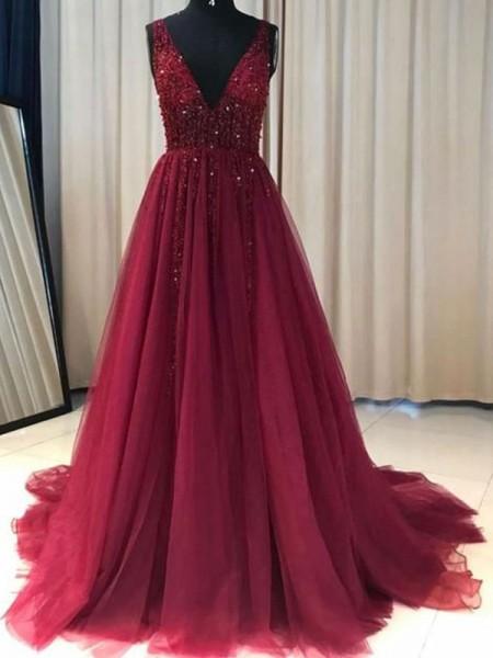 A-Line/Princess V-neck Ruffles Sleeveless Sweep/Brush Train Tulle Dresses