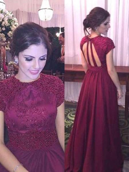 A-Line/Princess Sheer Neck Beading Short Sleeves Floor-Length Satin Dresses