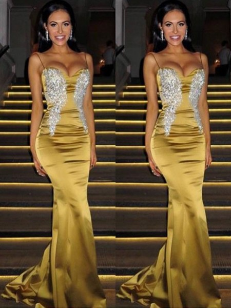 Trumpet/Mermaid Spaghetti Straps Beading Sleeveless Sweep/Brush Train Satin Dresses