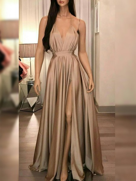 A-Line/Princess Spaghetti Straps Ruffles Sleeveless Floor-Length Silk Like Satin Dresses