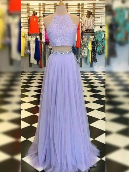 A-Line/Princess Halter Lace Sleeveless Floor-Length Tulle Dresses