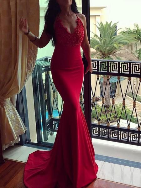Trumpet/Mermaid Spaghetti Straps Applique Sleeveless Sweep/Brush Train Spandex Dresses