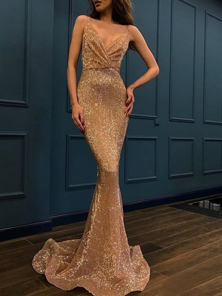 Trumpet/Mermaid Spaghetti Straps Sweep/Brush Train Sleeveless Sequins Dresses
