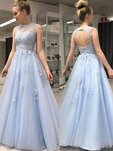 A-Line/Princess Sheer Neck Floor-Length Applique Sleeveless Tulle Dresses