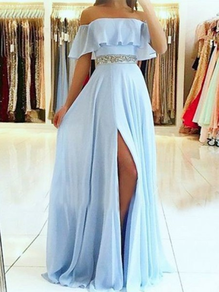 A-Line/Princess Off-the-Shoulder Floor-Length Beading Sleeveless Chiffon Dresses