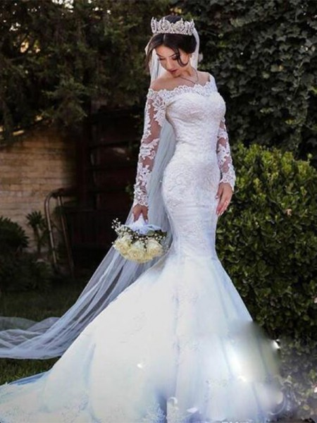 Trumpet/Mermaid Off-the-Shoulder Sweep/Brush Train Long Sleeves Tulle Wedding Dresses