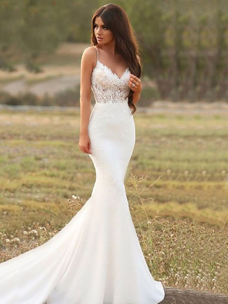 Trumpet/Mermaid Spaghetti Straps Sweep/Brush Train Applique Sleeveless Satin Wedding Dresses