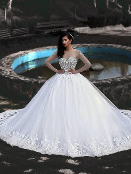 Ball Gown Scoop Sweep/Brush Train Beading Long Sleeves Tulle Wedding Dresses
