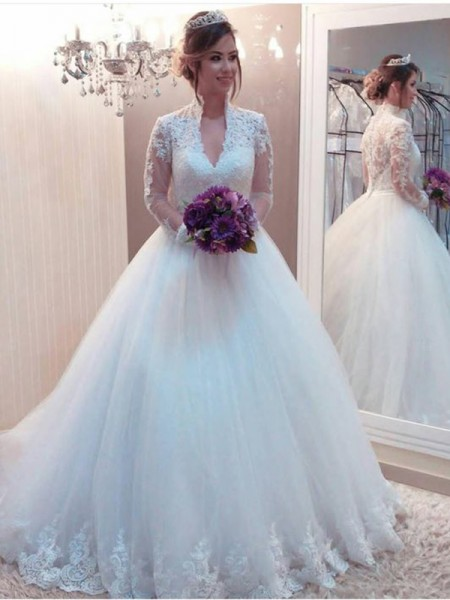 Ball Gown High Neck Sweep/Brush Train Applique Long Sleeves Tulle Wedding Dresses