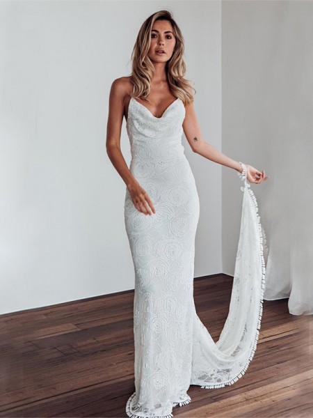 Sheath/Column Spaghetti Straps Sweep/Brush Train Sleeveless Lace Wedding Dresses
