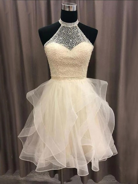 A-Line/Princess Halter Sleeveless Beading Organza Short/Mini Dresses