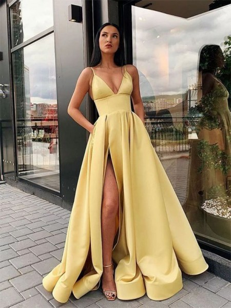 A-Line/Princess Floor-Length Spaghetti Straps Sleeveless Ruffles Satin Dresses