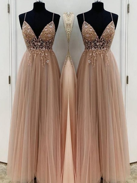A-Line/Princess Floor-Length Spaghetti Straps Sleeveless Beading Tulle Dresses