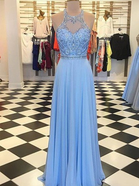 A-Line/Princess Floor-Length Halter Sleeveless Beading Chiffon Dresses