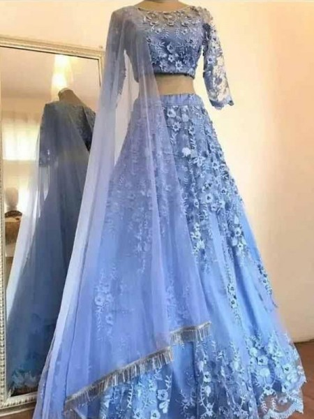 A-Line/Princess Floor-Length Scoop 3/4 Sleeves Applique Tulle Dresses