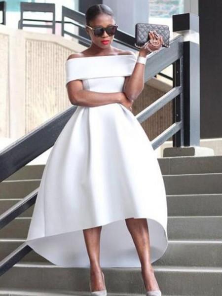 A-Line/Princess Asymmetrical Off-the-Shoulder Sleeveless Ruffles Satin Dresses