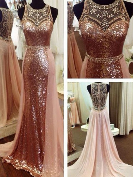 A-Line/Princess Sweep/Brush Train Scoop Sleeveless Beading Sequins Dresses