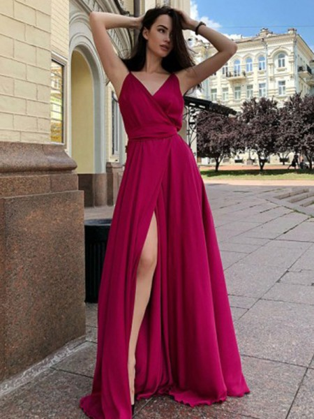 A-Line/Princess Sweep/Brush Train Spaghetti Straps Sleeveless Ruffles Satin Chiffon Dresses