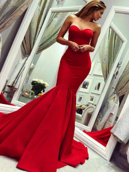 Trumpet/Mermaid Court Train Strapless Sleeveless Ruffles Satin Dresses