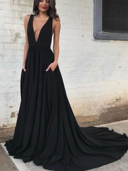 A-Line/Princess Court Train V-neck Sleeveless Ruffles Jersey Dresses