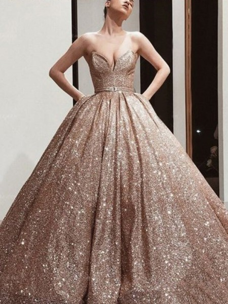 Ball Gown Floor-Length Sweetheart Sleeveless Sash/Ribbon/Belt Sequins Dresses