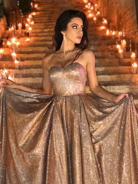 Ball Gown Sweep/Brush Train Sweetheart Sleeveless Ruffles Sequins Dresses