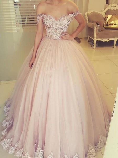 Ball Gown Floor-Length Off-the-Shoulder Sleeveless Applique Tulle Dresses