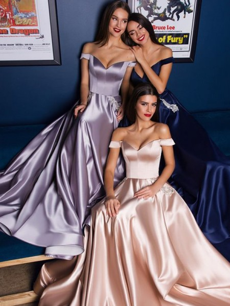 A-Line/Princess Sweep/Brush Train Off-the-Shoulder Sleeveless Ruffles Satin Dresses