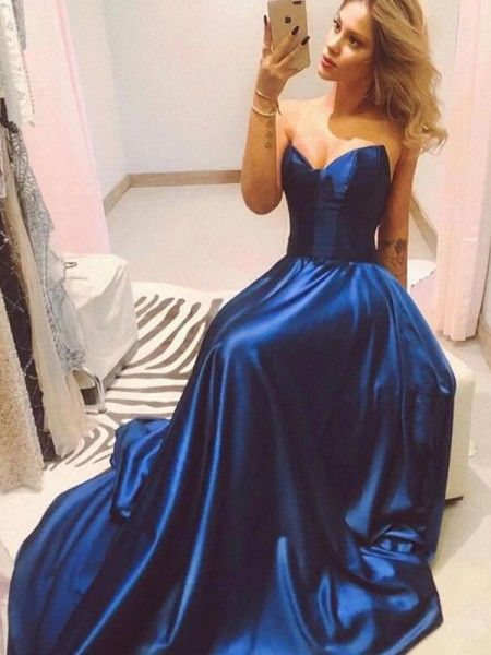 A-Line/Princess Sweep/Brush Train Sweetheart Sleeveless Satin Dresses