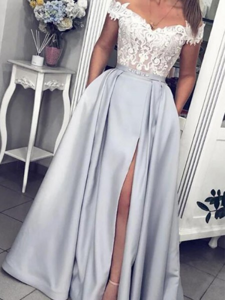 A-Line/Princess Floor-Length Off-the-Shoulder Sleeveless Lace Satin Dresses
