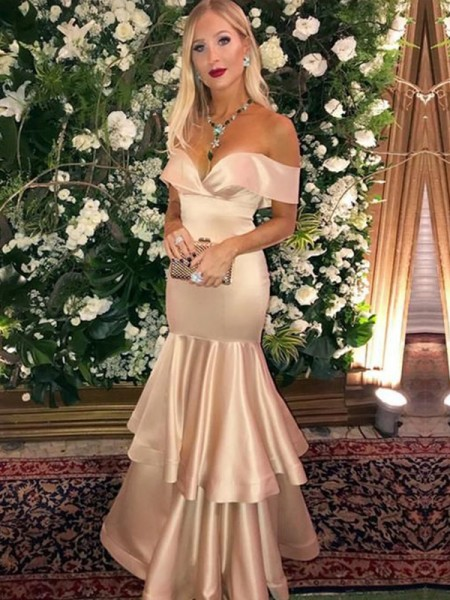 Trumpet/Mermaid Floor-Length Off-the-Shoulder Sleeveless Layers Satin Dresses