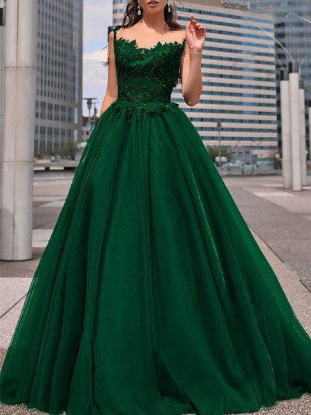 A-Line/Princess Floor-Length Bateau Sleeveless Beading Tulle Dresses