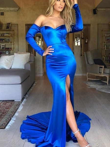 Trumpet/Mermaid Court Train V-neck Long Sleeves Ruched Elastic Woven Satin Dresses