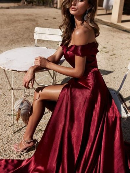 A-Line/Princess Court Train Off-the-Shoulder Sleeveless Ruffles Elastic Woven Satin Dresses