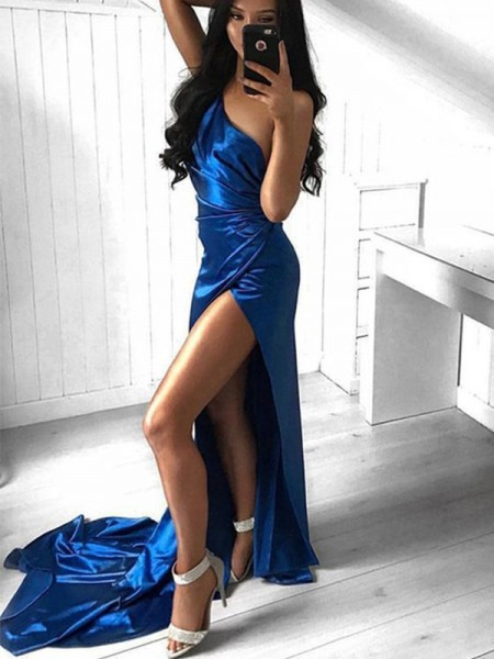 Sheath/Column Court Train One-Shoulder Sleeveless Ruched Elastic Woven Satin Dresses