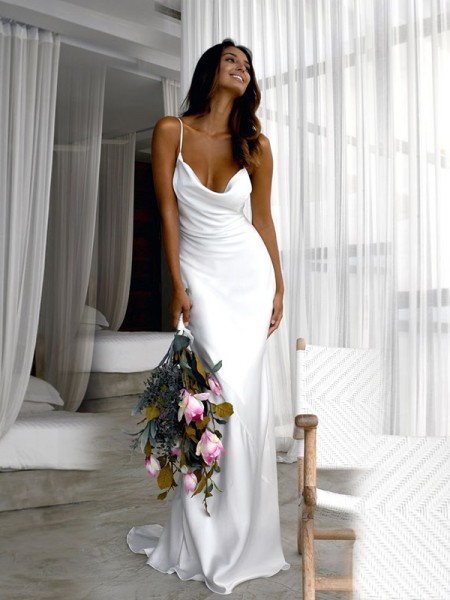 Sheath/Column Sweep/Brush Train Silk Like Satin Ruched Spaghetti Straps Sleeveless Wedding Dresses