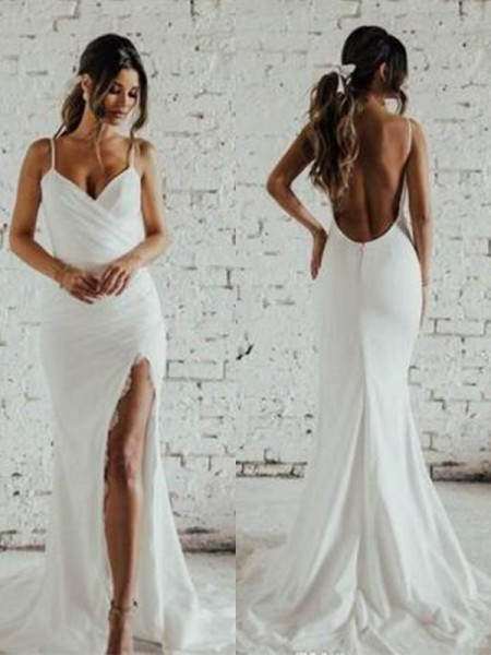 Sheath/Column Sleeveless Spaghetti Straps Ruched Lace Sweep/Brush Train Wedding Dresses