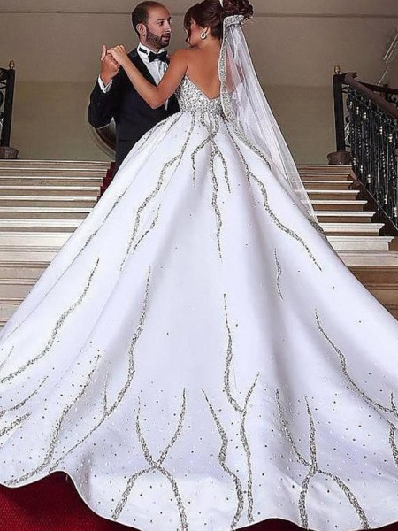 Ball Gown Sleeveless Sweetheart Satin Beading Sweep/Brush Train Wedding Dresses