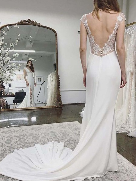 Sheath/Column Sleeveless Satin Lace V-neck Court Train Wedding Dresses