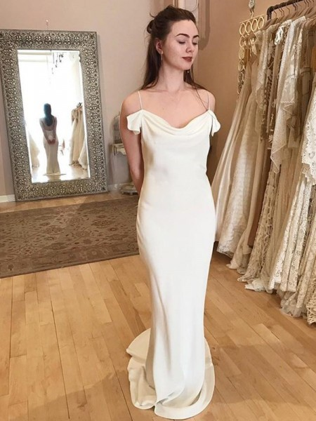 Sheath/Column Spandex Spaghetti Straps Ruched Sweep/Brush Train Sleeveless Wedding Dresses