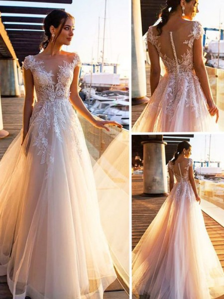A-Line/Princess Short Sleeves Bateau Applique Sweep/Brush Train Tulle Wedding Dresses