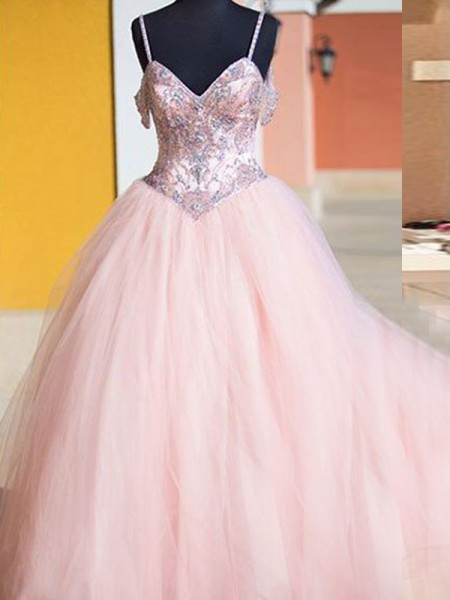 Ball Gown Floor-Length Tulle Sleeveless Spaghetti Straps Crystal Dresses