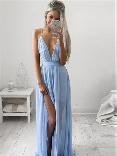 A-Line/Princess Floor-Length Chiffon Sleeveless Spaghetti Straps Ruched Dresses