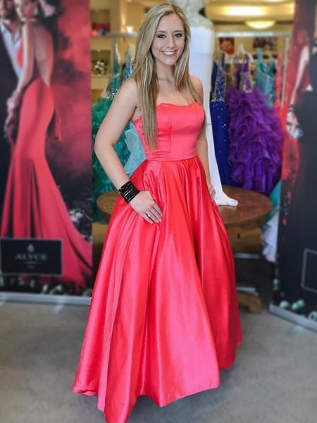 Ball Gown Floor-Length Satin Sleeveless Sweetheart Dresses
