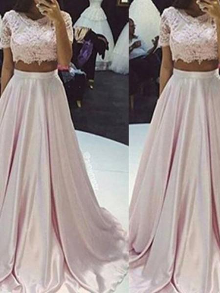 A-Line/Princess Scoop Floor-Length Lace Taffeta Two Piece Dress